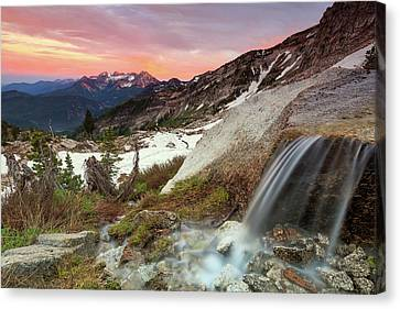 Alpine Waterfall In The Southern Wasatch. Canvas Print by Johnny Adolphson