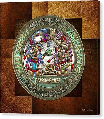 Mayan Mythology Canvas Print - Altar 5 From Tikal - Mayan Nobles Performing A Ritual - On Brown Leather  by Serge Averbukh