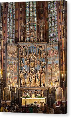 Altarpiece By Wit Stwosz In St. Mary's Basilica Canvas Print