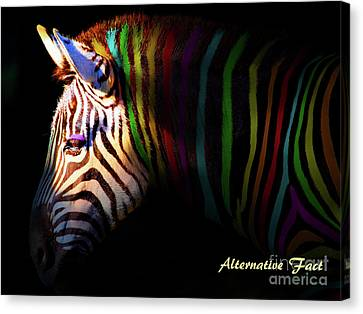 Sean Horse Canvas Print - Alternative Fact Number 1 The Color Striped Zebra 7d8908 by Wingsdomain Art and Photography