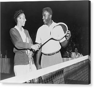 Brooklyn Dodgers Canvas Print - Althea Gibson 1927-2003 And Jackie by Everett