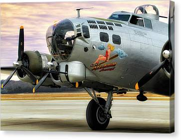 Canvas Print featuring the photograph Aluminum Overcast - B-17 - World War II by Jason Politte