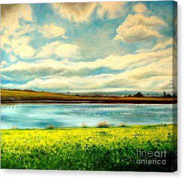 Canvas Print featuring the painting Am I Dreaming by Elizabeth Robinette Tyndall
