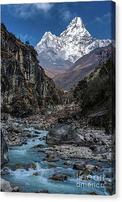 Ama Dablam In Nepal Canvas Print by Mike Reid