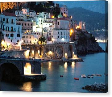 Canvas Print featuring the photograph Amalfi Coast At Night by Donna Corless