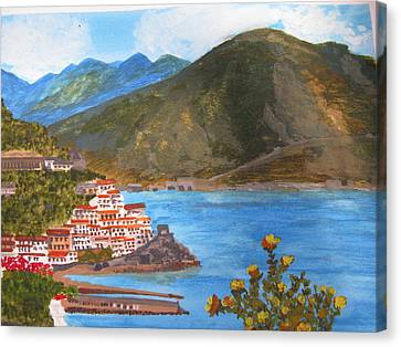 Canvas Print featuring the painting Amalfi Coast by Trilby Cole