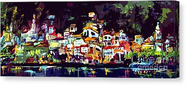 Amalfi Italy At Night Panoramic Canvas Print
