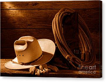 Amarillo By Morning - Sepia Canvas Print by Olivier Le Queinec