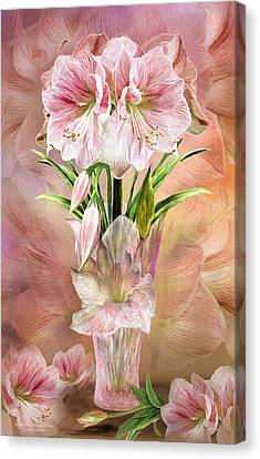 Canvas Print featuring the mixed media Amaryllis In Amaryllis Vase by Carol Cavalaris