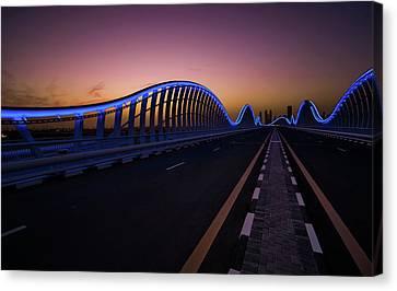 Amazing Night Dubai Vip Bridge With Beautiful Sunset. Private Ro Canvas Print