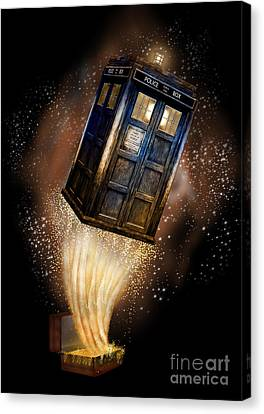 Amazing Phone Booth And Fantastic Bag Canvas Print by Three Second
