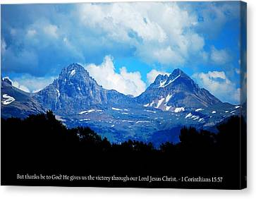 Canvas Print featuring the photograph Amazing Teton Mountain View With 1 Corinthians 15-57 Scripture  by Matt Harang