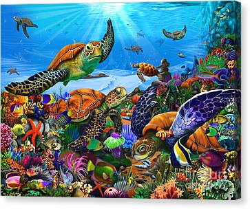 Amazing Undersea Turtles Canvas Print by Gerald Newton