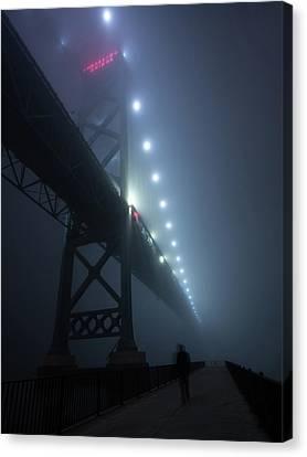Ambassador Bridge In Fog Canvas Print