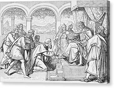 Ambassadors Of Haroun Al Raschid Before Charlemagne Canvas Print by French School
