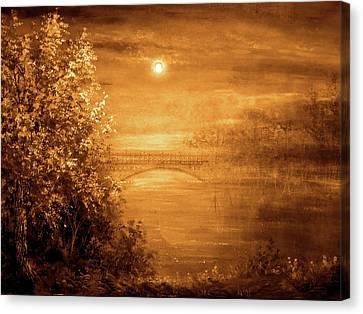 Amber Bridge Canvas Print by Ann Marie Bone