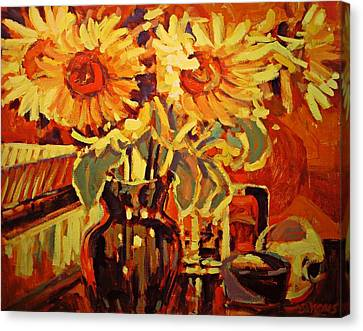 Amber's Sunflowers Canvas Print by Brian Simons