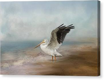 Flying White Pelicans Canvas Print - Amble Along The Shore by Kim Hojnacki