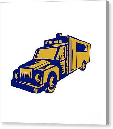Ambulance Emergency Vehicle Truck Woodcut Canvas Print by Aloysius Patrimonio