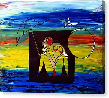 Ameeba 33-  Nude Woman Under Umbrella Canvas Print