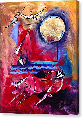 Ameeba 34-horse And Sailboat Canvas Print