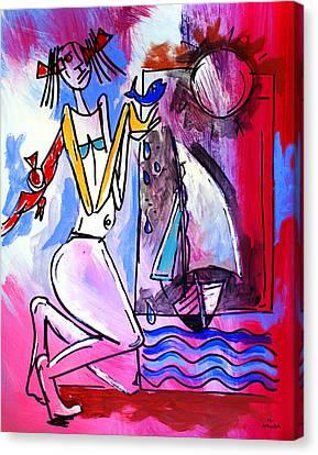 Ameeba- Woman And Sailboat Canvas Print