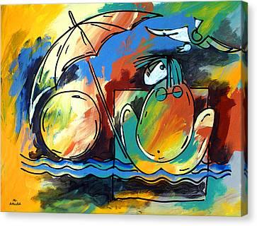 Ameeba- Woman On Beach Canvas Print
