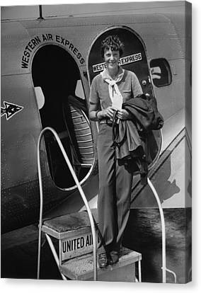 Amelia Earhart 1897-1937 Standing Canvas Print by Everett