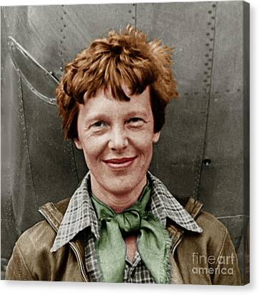Amelia Earhart American Aviation Pioneer Colorized 20170525 Square Canvas Print