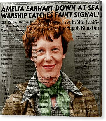 Amelia Earhart American Aviation Pioneer Colorized 20170525 Square With Newspaper Canvas Print