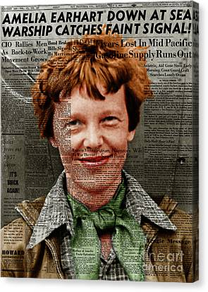 Amelia Earhart American Aviation Pioneer Colorized 20170525 Vertical With Newspaper Canvas Print
