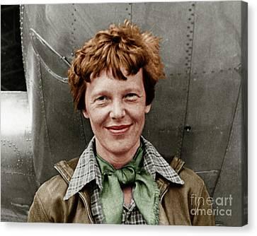 Amelia Earhart American Aviation Pioneer Colorized 20170525 Canvas Print