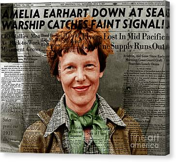 Amelia Earhart American Aviation Pioneer Colorized 20170525 With Newspaper Canvas Print