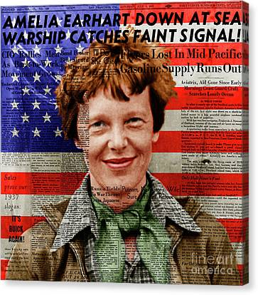 Amelia Earhart American Aviation Pioneer Colorized 20170525a Square With Newspaper And American Flag Canvas Print