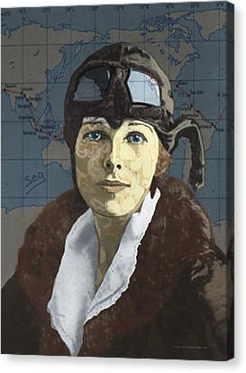 Amelia Earhart Canvas Print by Suzanne Gee