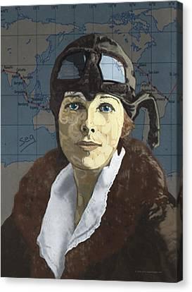 Amelia Earhart Canvas Print - Amelia Earhart by Suzanne Gee