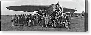 Amelia Earhart Canvas Print - Amelia Earhart Washington Dc Airfield by Fred Schutz Collection