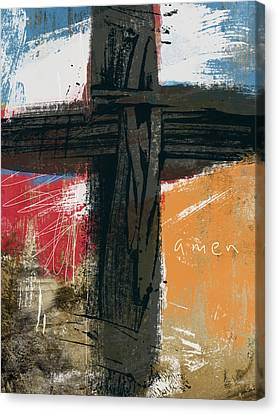 Amen Contemporary Cross- Art By Linda Woods Canvas Print