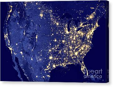Canvas Print featuring the photograph America By Night by Delphimages Photo Creations