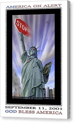 Stop Sign Canvas Print - America On Alert II by Mike McGlothlen