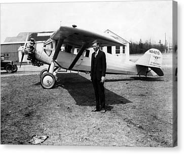 1920s Candid Canvas Print - America Pilot Charles Lindbergh by Everett