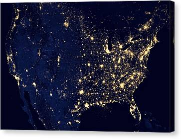 America United States At Night Canvas Print by New York Prints