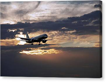 American Aircraft Landing At The Twilight. Miami. Fl. Usa Canvas Print