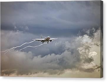 American Aircraft Landing Canvas Print by Juan Carlos Ferro Duque