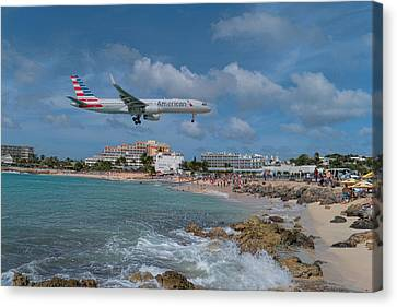 American Airlines Landing At St. Maarten Airport Canvas Print by David Gleeson