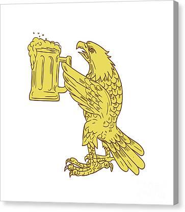 American Bald Eagle Beer Stein Drawing Canvas Print by Aloysius Patrimonio