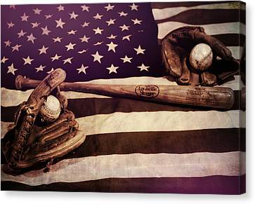 Baseball Glove Canvas Print - American Baseball Grunge by Dan Sproul