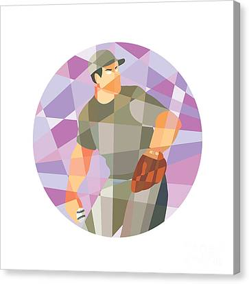 American Baseball Pitcher Throwing Ball Low Polygon Canvas Print by Aloysius Patrimonio