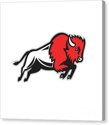 American Bison Buffalo Jumping Retro Canvas Print by Aloysius Patrimonio