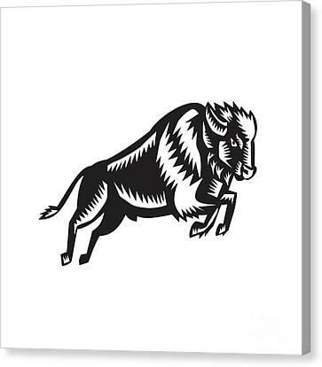 American Bison Buffalo Jumping Woodcut Canvas Print by Aloysius Patrimonio